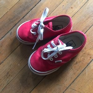 Vans, cute red toddler size 6 shoes
